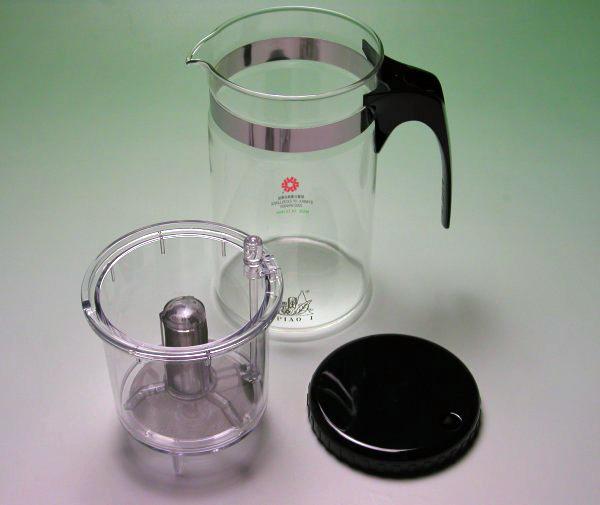 【中国茶具】耐熱ガラスマルチティーポット(濾過抽出式)1000cc